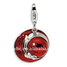 polished silver red enamel ladies` hat pendant accessories with lobster clasp accessoriess