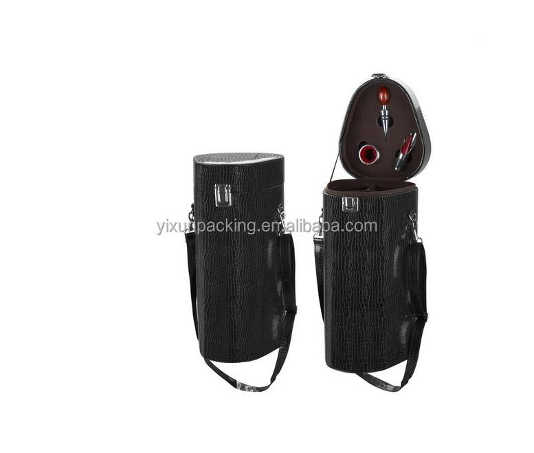 leather wine carrier for one bottle packaging box made in china