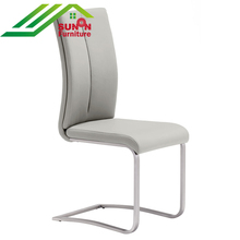 European style Wholesale Modern chrome steel pu leather upholstered bow shape dining chair