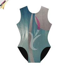 Mint Green cute leotards rhinestone design women's dance leotards
