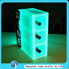 China supply acrylic paint storage containers with LED, fancy wine display case with light for bar wholesale cheap