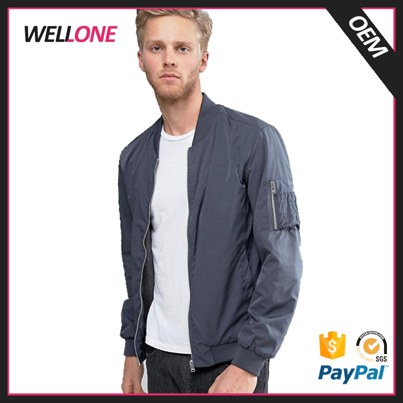 Wellone winter flight bomber blank lightweight custom your design printing grey satin mens jackets new arrivals