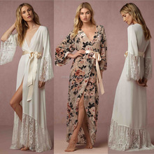 Modern Bath Silk Bridesmaid Peacock Kimono Robe Floral Silk Bathrobe