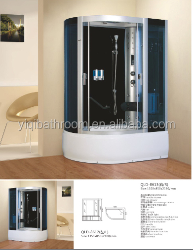 ABS tempered glass ozone sterilizer integral steam shower cabin