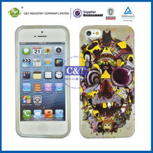 C&T 2014 Gold foil printing skull cell phone tpu cases for iphone 5