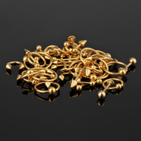 50 Pieces 16G Gold Plated Steel Body Piercing Mixed with Nose Ring/Labret/Eyebrow Jewelry/Tongue Ring