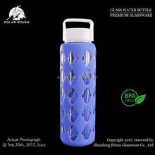 18 OZ sports leak proof heat resistant glass juice beverage water bottle with protective silicone sleeve and flip lid