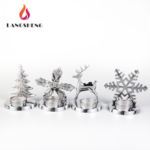 Christmas Decorative Silver Metal LED Tealight Candle Holder Votive