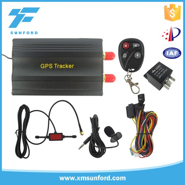 dual sim card gps tracking device, GPS105 vehicle tracker with RFID/app tracking