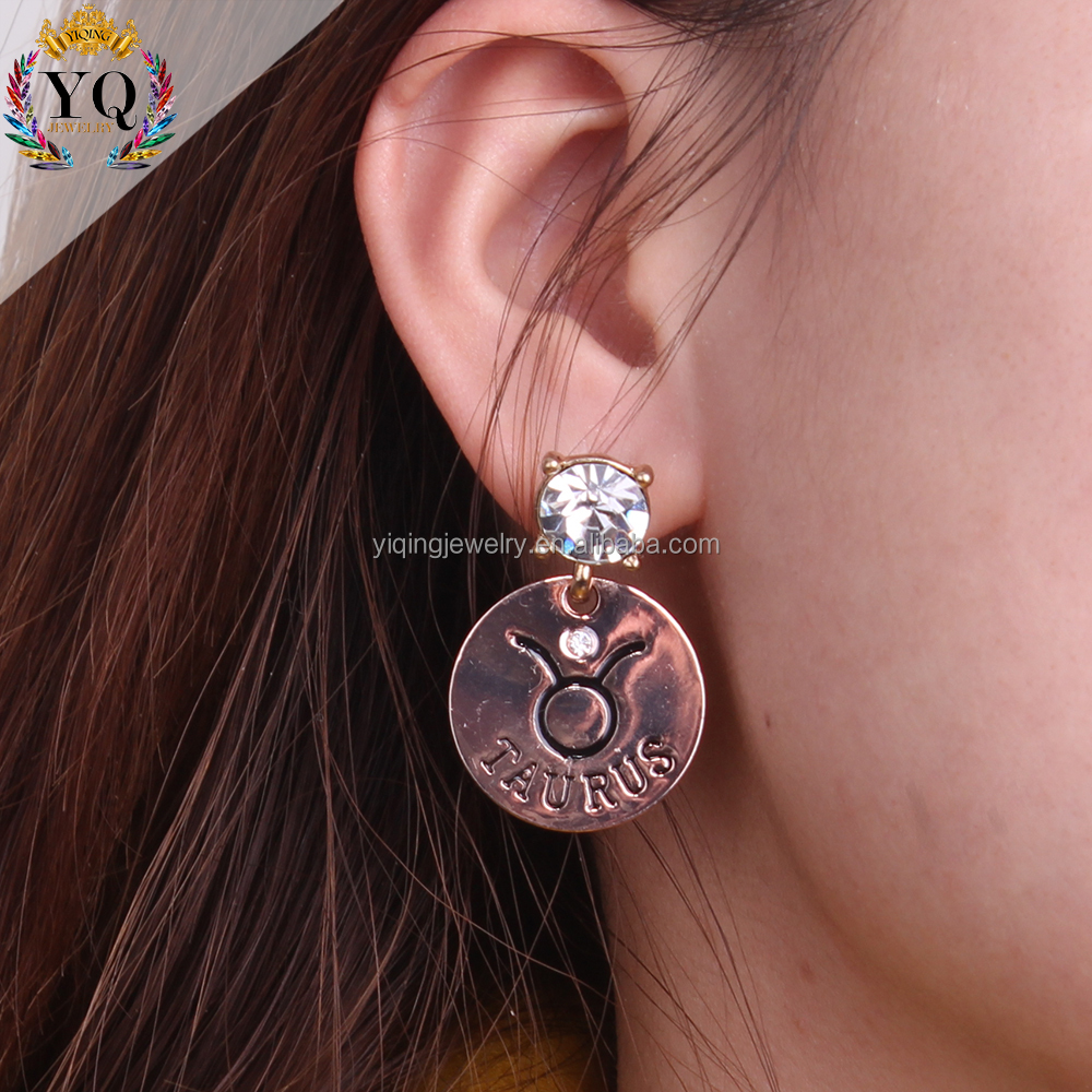 EYQ-00261ancient Greek rose gold earrings 12 zodiac jewelry crystal round shape alloy stud earrings constellat birthday gifts