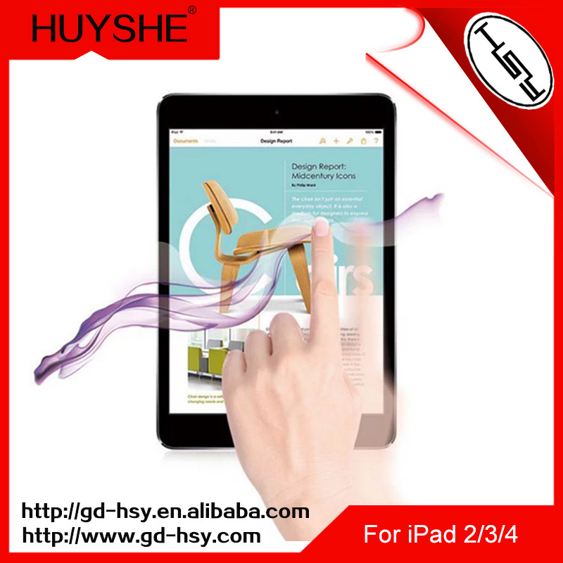 HUYSHE 0.3mm 9h hd 2.5d round edge high quality cooyee screen protector for ipad 2