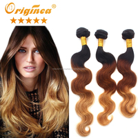 Wholesale Price 3pcs/lot 8~30inch wild ombre brazilian ombre blonde hair light brown ombre hair