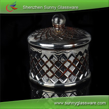 Australia popular unique plating copper glass scented candle jar with lids