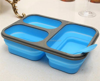 Collapsible Silicone Lunch Box Storage with Utensil Eco Friendly