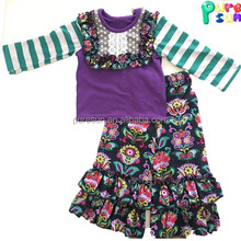 High quality baby girls boutique floral outfits children girl wholesale fall winter ruffle clothes sets