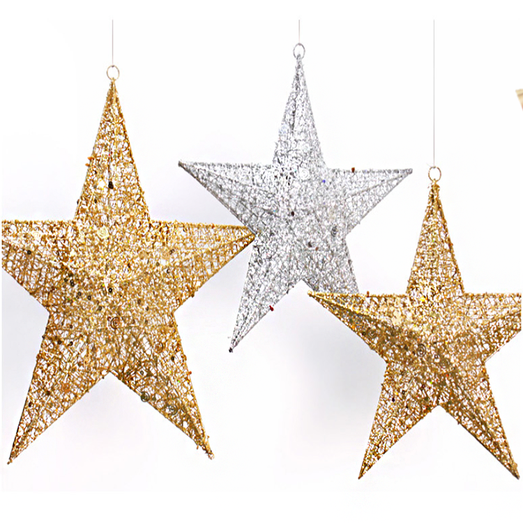 Christmas items metal wire glitter hanging star crafts for Xmas tree