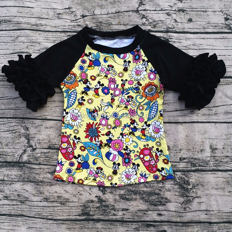 2016 Fall Girls top new design children boutique wholesale ruffle mickey shirt