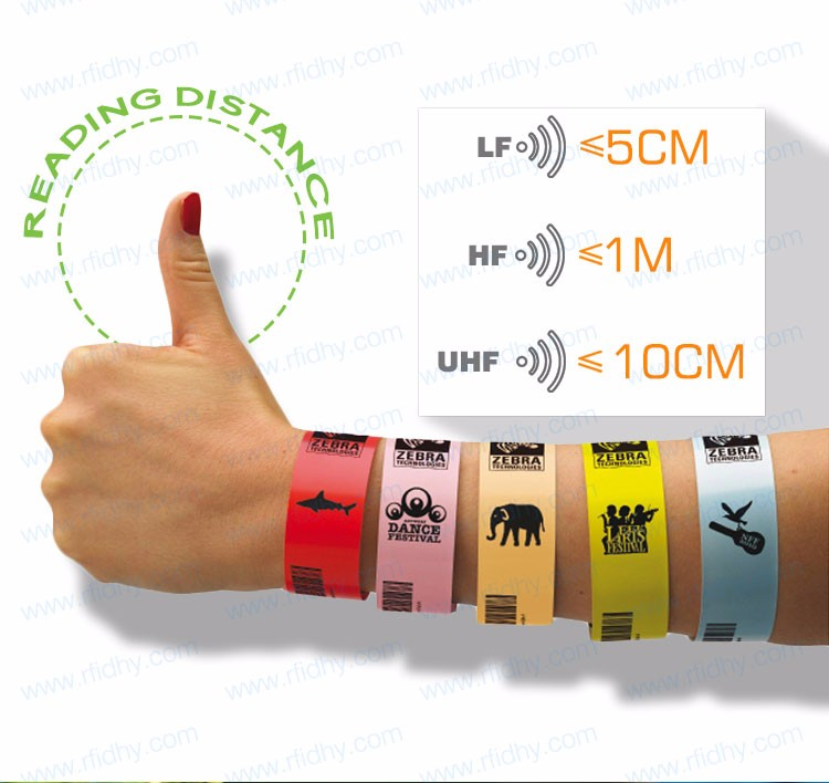 RFID Hospital Customized NFC PVC One Time RFID Wristbands For Events