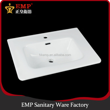 Rectangle ceramic wash basin, one piece bathroom sink and countertop