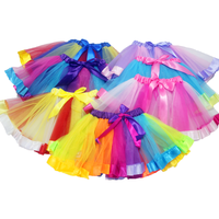 Classical Ballet Performance kids Tutu for Children Chiffon Rainbow Dance Girls Mini Tulle Tutu Skirt for Party