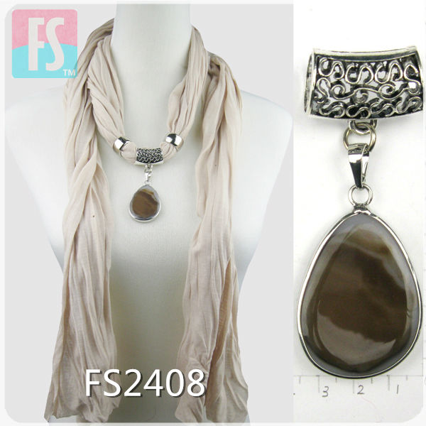 fashion lady scarf with pendant accessories