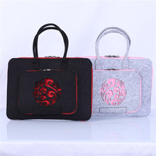 wholesale high quality polyester felt laptop sleeve messenger bag 15.6 inches with handles