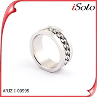 Latest arrival Stainless Steel Ring With Chain Inlay men's silver rings