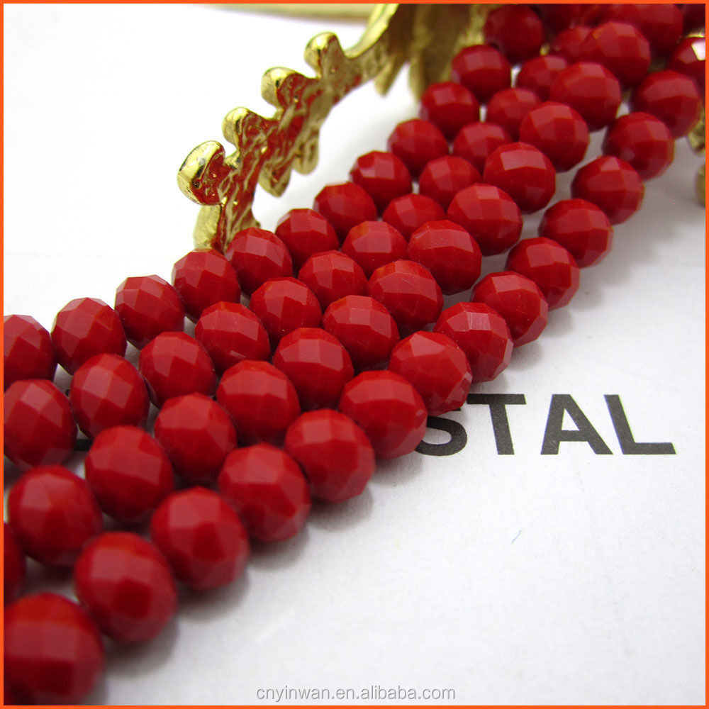 YGR025 porcelain red White jade Wholesale high quality rondelle crystal beads