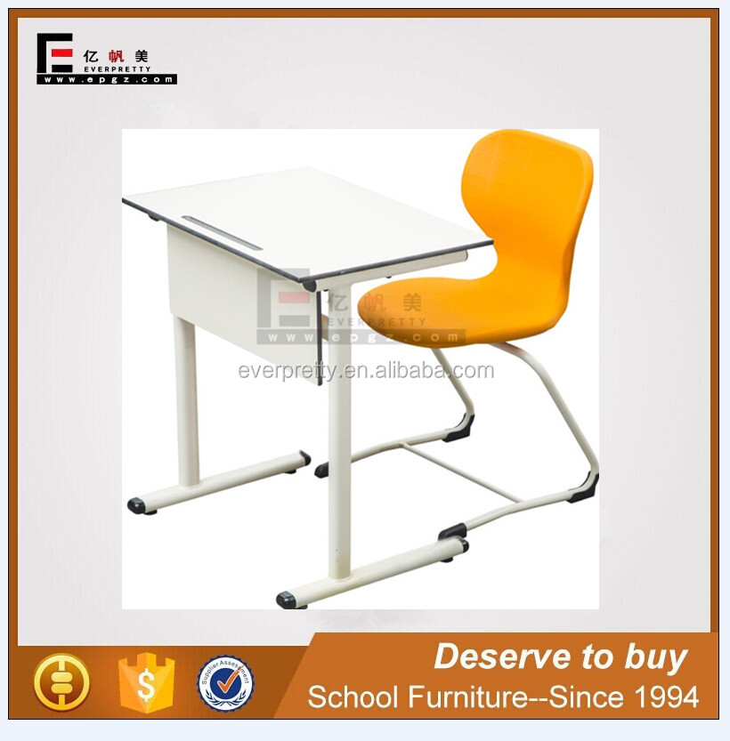 Student chairs tables for classroom, Standard single seat wooden school table desk