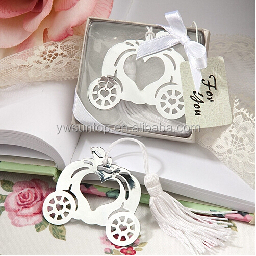 High Quality Bridal Favor Gifts Pumpkin Carriage Design Bookmark