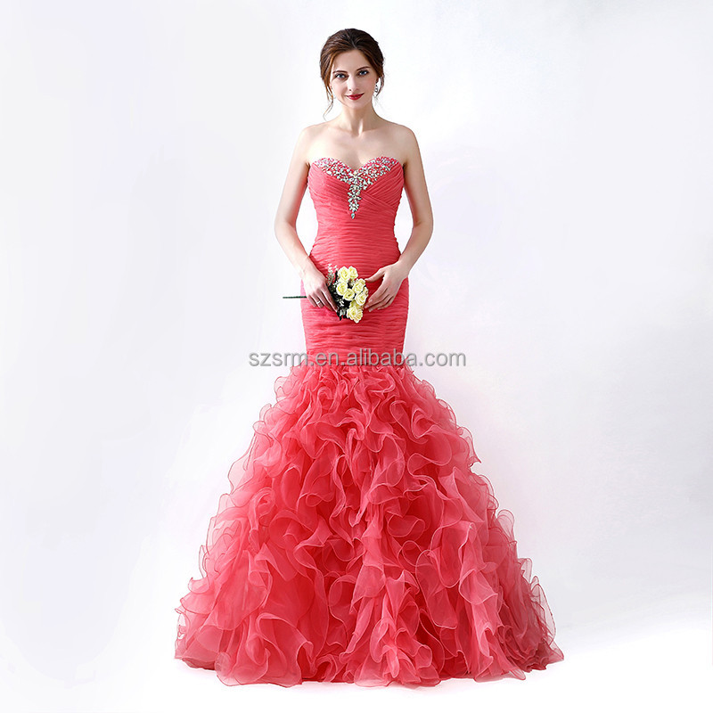 Sweetheart Sweep Train Evening Dress Elegant Zipper Ruched Piping Sleeveless Backless Organza Wedding Party Dress