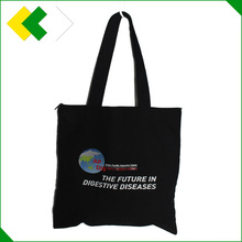 China manufacture canvas zipper bag black hot stamping logo printing canvas tote bag