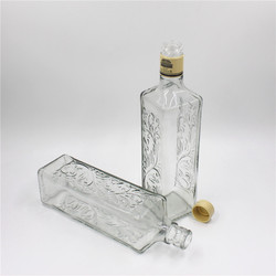 750ml snap on top square gin glass bottle