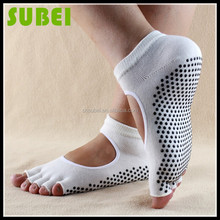 New design cotton open-toed yoga pilates socks, non-slip backless five fingers socks