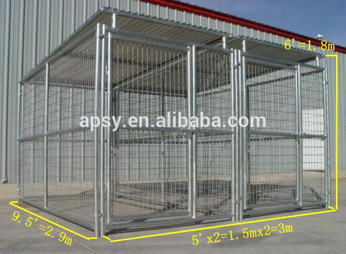 6'X12' metal steel tubing welded wire mesh dog kennel with roof shelter and 1dog runs
