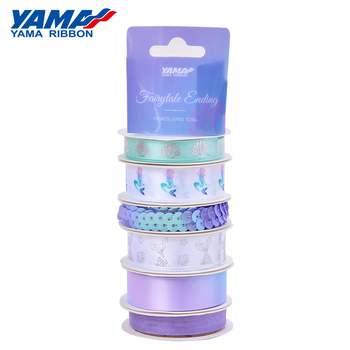 Yama factory 5 series mix color pattern double faced satin customized retail ribbon for supermarket store