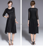 Solid tiered 3/4 sleeve elegant Chinese style mini pleats dress with buttons