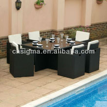 2015 Cube 6 Seater Rattan Garden Dining Table and Chairs Set with Cover
