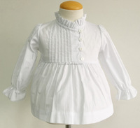 100% cotton poplin wholesale white color pleats long sleeves girl shirt