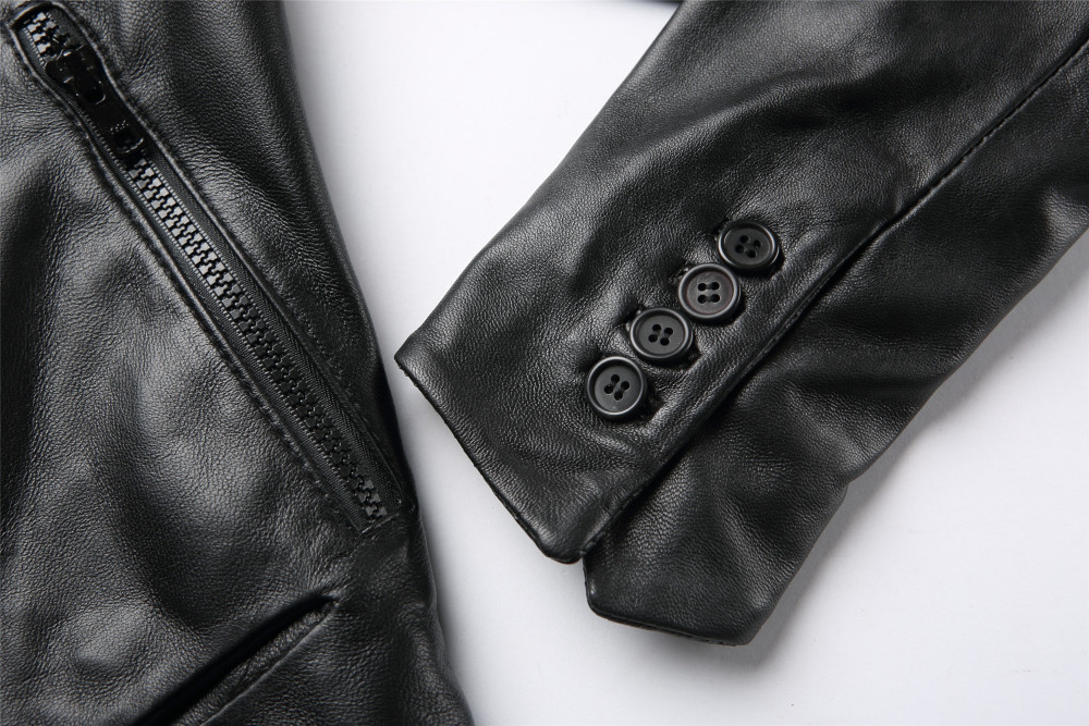 High Quality Women Front Drape Black Leather Jacket