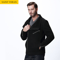 Black men short style zipper straight woolen coat