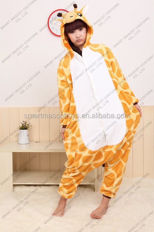Top quality thick warm flannel giraffe onesie winter long sleeves kids & adults giraffe onesies