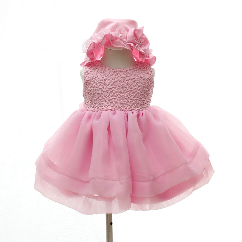 Get Quotations · baby girls baptism dresses pink christening gowns  embroidery delicate infant princess dress pretty 1 year birthday 6dc539378499