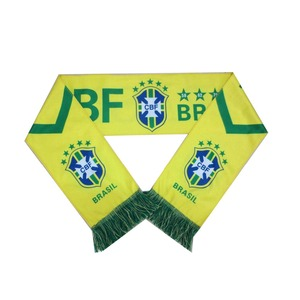 Wholesale promotional sports knitted custom jacquard Brazil fan scarf