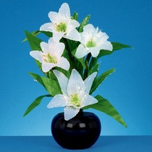 Fibre Optic White Lilies 50cm, fiber optic flower
