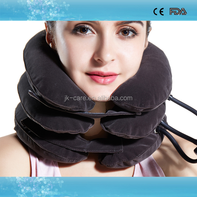Hot sale pneumatic cervical collar home uses full flannel neck traction