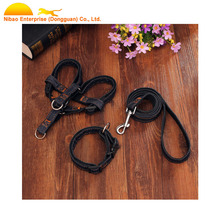 Fashion high quality polyester jeans wholesale dog collar with harness and leash