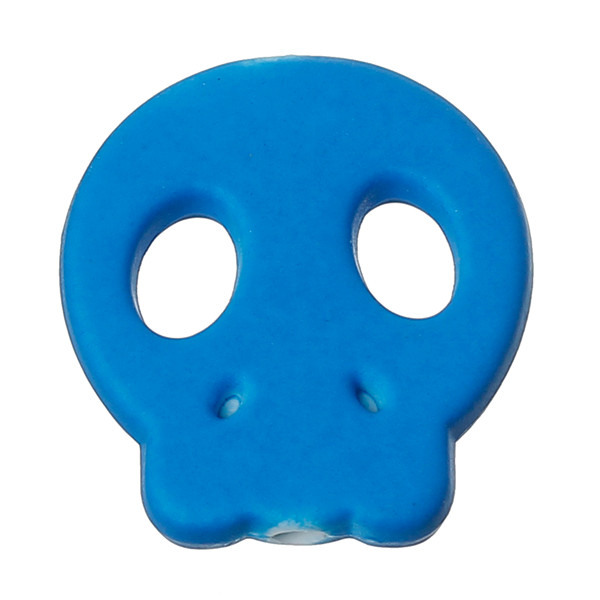 Acrylic Spacer Beads Rubber Neon Skull Halloween Dark Blue About 22mm x 20mm,Hole:Approx 2.4mm,100PCs