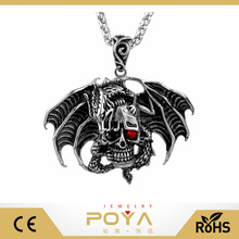 POYA Jewelry Punk Style Pendant Necklace Jewelry, Skull Gemstone Pendant Curb Chain Necklace,Pterosaur Skull Pendant Necklace