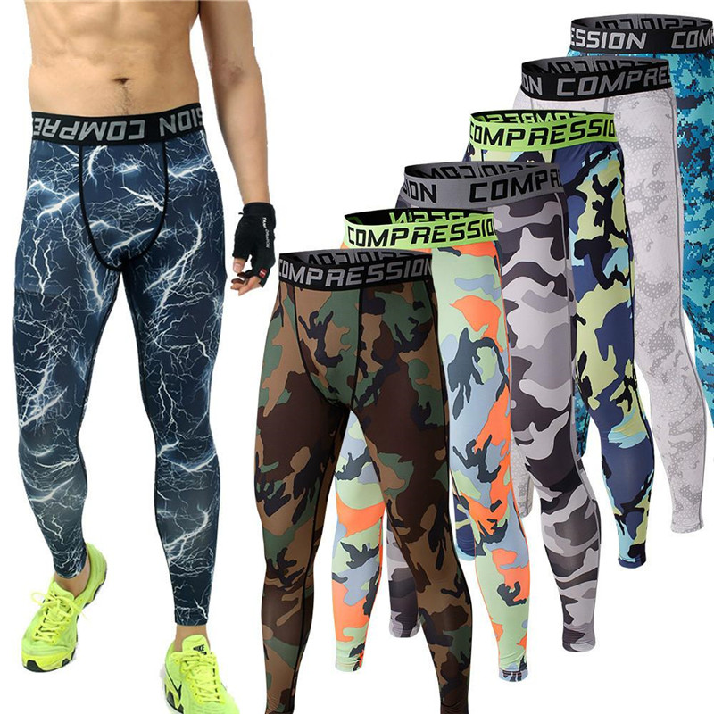2015 Mens Running Camo Base Layer Compression Tights Long Pants Sport Basketball Training Leggings Mens Gym Wear